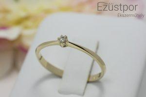 sárga arany gyémánt köves gyűrű